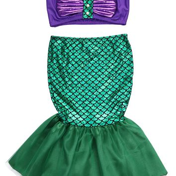 Baby Girls the little mermaid tail princess ariel dress cosplay costume kids for girl fancy green dress
