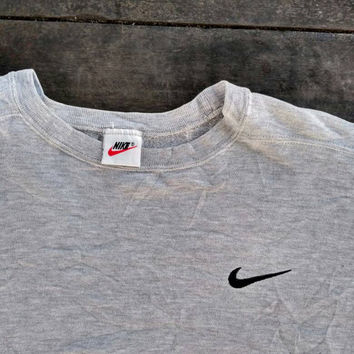 Nike swoosh sweatshirt Grey small pony jumper vintage design hip hop