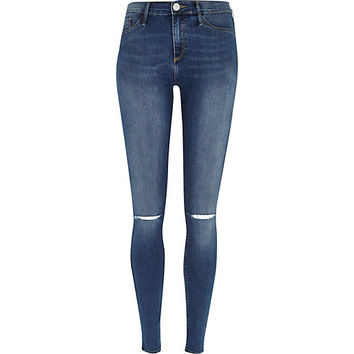 River Island Womens Dark wash ripped knee Molly Jegging