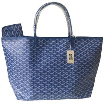 Goyard Brand New - Classic Chevron St. Louis Gm Blue Tote Bag