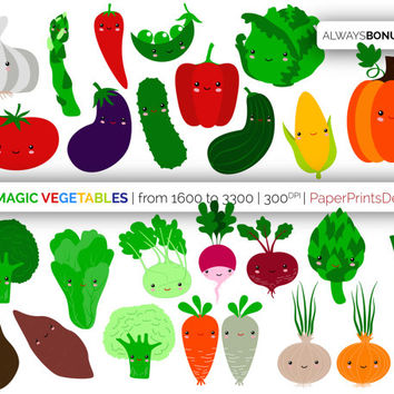 26 kawaii baby vegetables clipart, kawaii veggies, cute veggies, vegetable clipart, healthy food clipart, card making, instant download, png