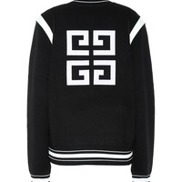 Knitted wool varsity jacket