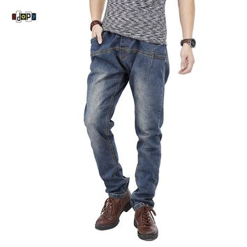 Idopy Men`s Stretchy Regular Fit Hiphop Drawstring Denim Joggers Jeans Trousers For Male Hipster Plus Size 30-46
