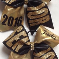 Custom Personalized Senior Glitter Cheer Bow