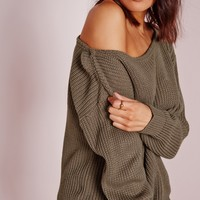 Missguided - Off Shoulder Sweater Taupe