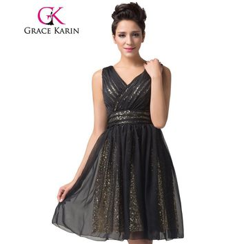 Stunning Backless Knee Length Short Prom Dresses Grace Karin Sexy Black Sequin Dress Chiffon V-Neck Special Occasion Dresses