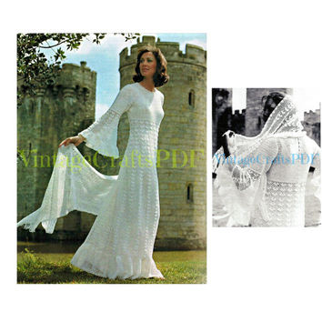 1970s Vintage Crochet Pattern Fairy Tale Wedding Dress and Stole Wrap Stunning Angel Wing Sleeves Juliet-Style-crochet wedding dress pattern