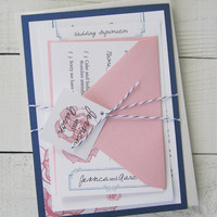 Vintage Rose Wedding Invitation - Pink Flower Floral Blue Antique Ribbon Elegant.  Purchase this listing for a Sample.