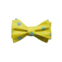 Sea Shell Bow Tie - Blue, Printed Silk