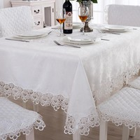 European Classical Solid Color Embroidered Tablecloths With Lace Pattern Rectangle & Round Soft Coffee Cabinet & Oven Cover