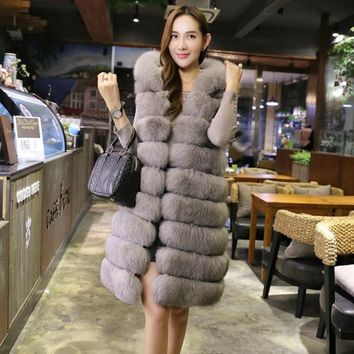 Long Fur Vest Women 2017 Winter Warm Thick Faux Fox Fur Coat Women Hooded Vests Luxury Furs Coats Jacket Slim Solid 4 Color