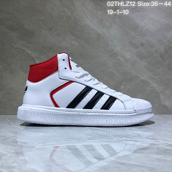 KUYOU A431 Adidas Hoops 2.0 Leather High Fashion Casual Skate Shoes White Red
