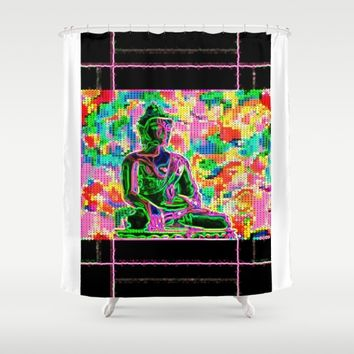 day glo buddha Shower Curtain by Kathead Tarot