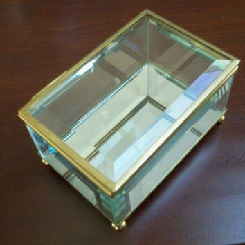 Vintage Collectible Glass Trinket Box Jewelry Box Beveled Glass