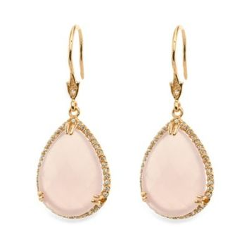 CZ by Kenneth Jay Lane Doubet Collection Cubic Zirconia, Pear Rose Quartz Earrings