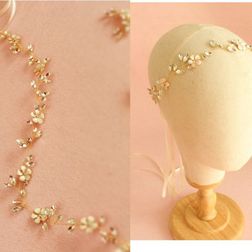 New Design Gold Floral Bridal Headband Handmade Wedding Headpiece Crystal Hair Jewelry Accessories Women Headbands