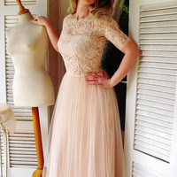 FLOOR LENGTH Ballade del Vientre blush pink wedding DRESS luxurious lace and tulle wedding gown blush pink lace dress