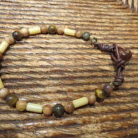 Tigers Eye and Peach Quartz Bracelet with Leather & Wooden Bead Button Unisex Guys Girls Jewelry Mens Classic