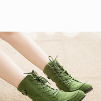 Sweet Green Round Toe Suede Ankle Boots