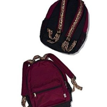 Victoria's Secret PINK Campus Backpack Maroon Animal Cheetah / Leopard