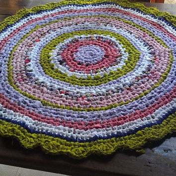 Bright Round Rag Rug (34 in), crochet rag rug, braided rug, nursery decor, reading mat, play mat, kids rug, crocheted rug, rag rug