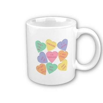 Funny Valentine's Day conversation hearts Coffee Mugs from Zazzle.com