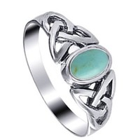 LWRS170-9 925 Sterling Silver 7mm Reconstituted Turquoise Celtic Knot Ring