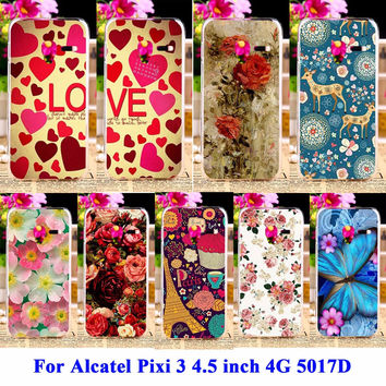 Rose Peony Flower Silicon Phone Cases For Alcatel OneTouch Pixi 3 4.5 inch 4G Version 5019 Housing Cover 5017D 5019D Shell Hood