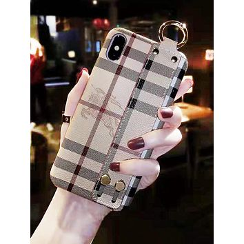 Burberry New fashion horse print plaid wrist band protective cover phone case