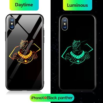Marvel Iron Man Batman Thanos Spiderman Black Panther Luminous Glass Case For iPhone X 10 7 8 6 6s Plus 5 5s SE Avengers Cover