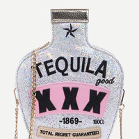 Tequila Nights Silver Clutch Bag