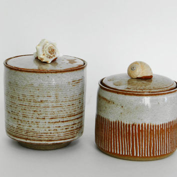 2 White Stoneware Kitchen Canisters, lidded jar,  stash jar, ceramic jar with lid, tea caddy, spice jar, jar with seashells, salt cellar