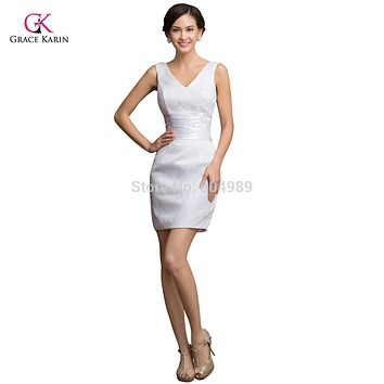 Sexy Grace Karin Taffeta White Lace Short Cocktail Dress plus size 2017 Cheap Prom Mini Party Gown Women Summer Club Dress 7523