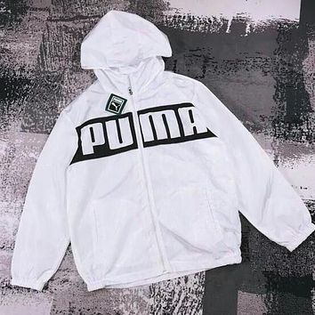 PUMA Fashion Women Men Hoodie Zipper Cardigan Jacket Coat Windbreaker Sportswear White