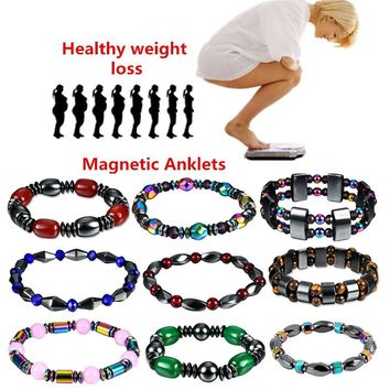 1Pcs Weight Loss Stone Magnetic Therapy Slimming Bracelets Health Care Magnetic Hematite Stretch Beaded Bracelets for Men Women