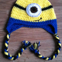Super Cute Crochet Minion Earflap Style Hat-Braided Tails-Available in Sizes Newborn-0/3mo-3/6mo-6/9mo-9/12mo-2/4t-Kids/Adult-Photo Prop