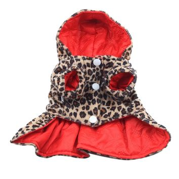 Factory Price! Pets Dogs Leopard Pattern Tutu Coat Dress Puppy Hoodie Both Sides Wear Clothes