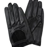 Black Cut-out Leather Gloves