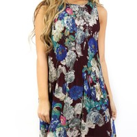 Orchard Plum Floral Sleeveless Keyhole Button Back Dress