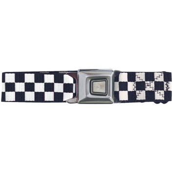 Ford Burst Seatbelt - Checkered White Web Belt