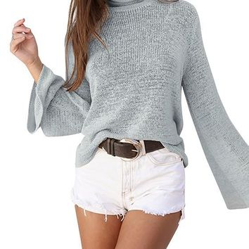 Grey Plain Tie Back High Neck Fashion Cotton Pullover Sweater