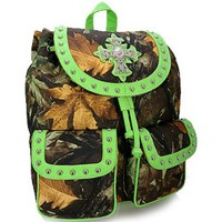 Camo Leaf Studded Cross Backpack Purse Camouflage Bag (Green)