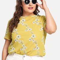 Button Keyhole Back Blossom Print Top