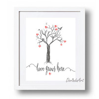 Tree wall art printable Heart tree print Love quote Typography print Gray, red Valentines print Charcoal Drawing Home decor Valentines gift