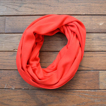 Infinity Scarf Bright Red Children's Unisex Jersey Knit Circle Scarf Vintage Fabric Snood Cowl