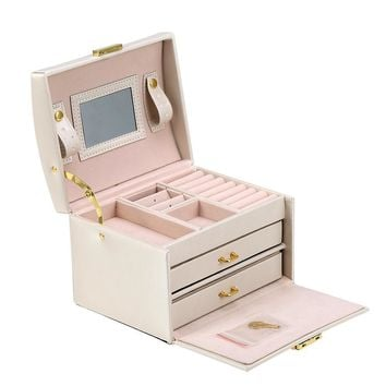 3-Layer Travel Jewelry Case Ring Storage Earring Jewelry Box Organizer with Lock Key and Mirror