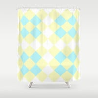 Checkers Yellow/Blue Shower Curtain by Dena Brender Photography