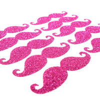 10 Glitter 2'' Mustache Die Cuts - Pick Your Color - Scrapbooking - Party Confetti - Supplies - Under 5