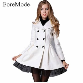 2017 Spring Woolen Cloth Coat White Twill Veil Double-breasted Trench Dress 5 Color Trench Coat for Women
