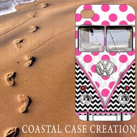 Apple iPhone 4 4G 4S 5G Hard Plastic or Rubber Cell Phone Case Cover Trendy Pink Polka Dots and Chevron VW Bus Design